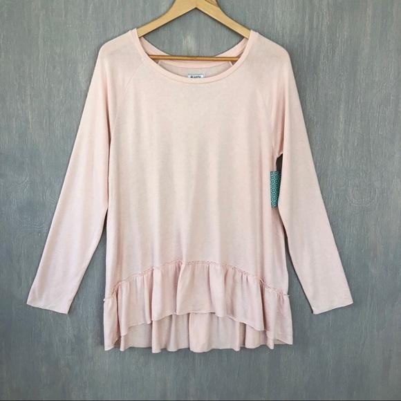 426df15dcab4a NWT Susina ruffle hem soft pullover blush pink M